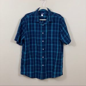 Basic Edition Short Sleeve Button Down Blue Size L
